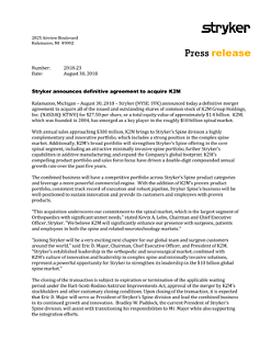 Stryker announces definitive agreement to acquire K2M