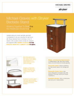 Michael Graves with Stryker Bedside Stand Spec Sheet
