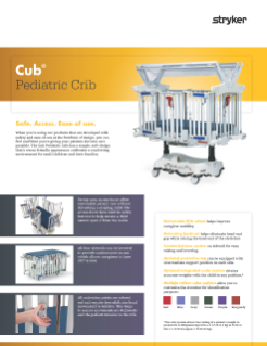 Cub Pediatric Crib Spec Sheet