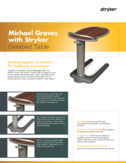 Michael Graves with Stryker Overbed Table Spec Sheet