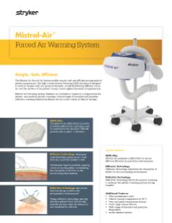 Mistral-Air 1100 Forced Air Warming System Spec Sheet