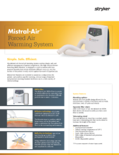 Mistral-Air 1200 Forced Air Warming System Spec Sheet