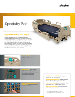 Spirit Select Specialty Bed Spec Sheet