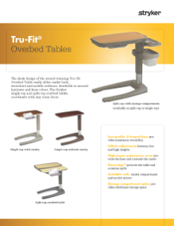 Tru-Fit Overbed Tables Spec Sheet