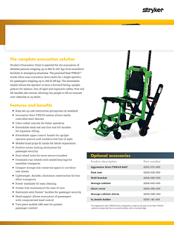 Evacuation Chair spec sheet